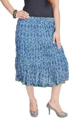 UFC Mart Embroidered Women's Regular Blue Skirt