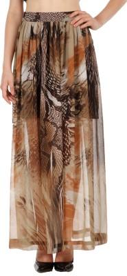 Fuziv Printed Women's Pleated Brown Skirt