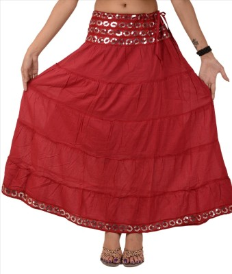 Skirts & Scarves Solid Women's Tiered Maroon Skirt