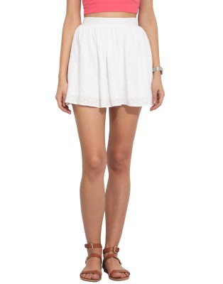 Hook & Eye Solid Women's Regular White Skirt