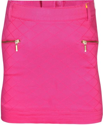 Gini & Jony Solid Girl's Regular Pink Skirt