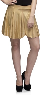 Dee Fashion House Solid Women's Pleated Gold Skirt
