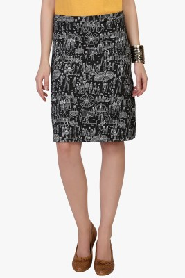 Funk For Hire Printed Women's Straight Grey Skirt