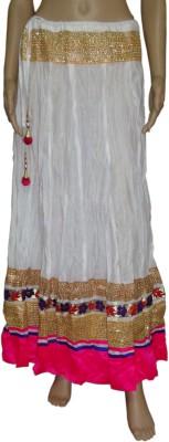 Pinkcityvilla Solid Women's Regular White Skirt