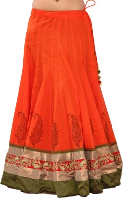 Chhipaprints Printed Women's Tiered Orange Skirt