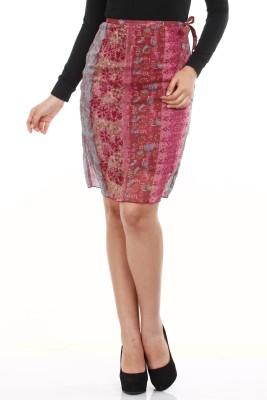Mustard Printed Women's Straight Pink, Grey Skirt