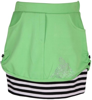 LEI CHIE Self Design Girl's A-line Green Skirt