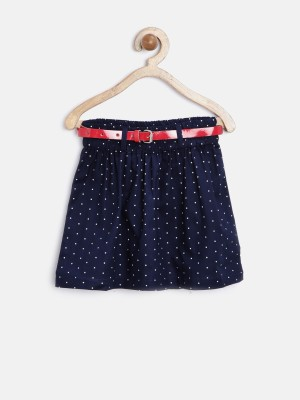 Yk Printed Girl's Peplum Dark Blue Skirt