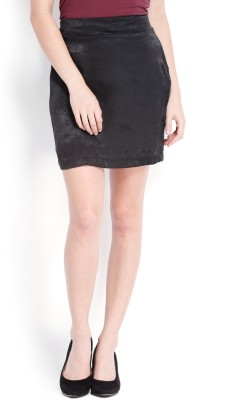 Tokyo Talkies Solid Women's Pencil Black Skirt