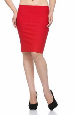 Fasnoya Solid Women's Pencil Red Skirt