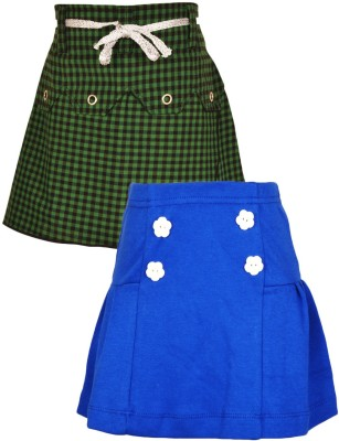 Gkidz Checkered Girl's A-line Blue, Pink Skirt