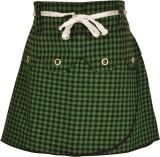 Gkidz Checkered Girls A-line Green Skirt