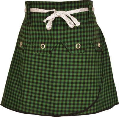 Gkidz Checkered Girl's A-line Green Skirt