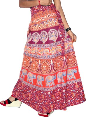 Urban Shauk Printed Women's A-line Red Skirt
