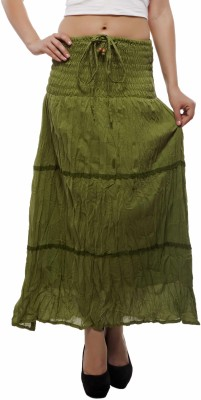 Indi Bargain Solid Women's A-line Green Skirt