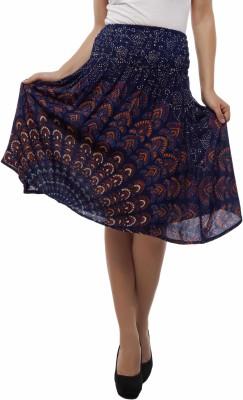 Indi Bargain Printed Women's A-line Dark Blue Skirt