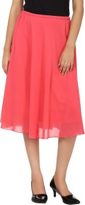 Tops and Tunics Solid Women's Regular Pink Skirt