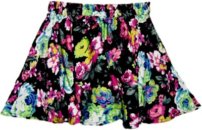 Modish Vogue Floral Print Girl,s Gathered Multicolor Skirt