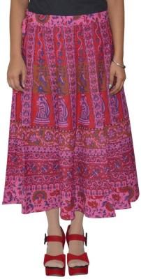 Shreeka Printed Women's Wrap Around Red, Blue Skirt