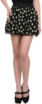 N-Gal Floral Print Women's Pleated Yellow, Black Skirt