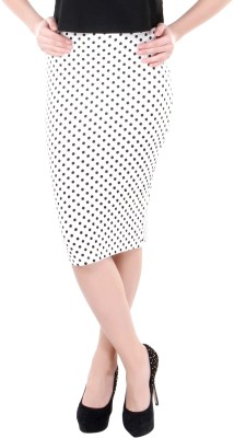Street 9 Polka Print Women's Pencil White, Black Skirt