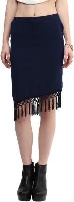 Rare Solid Women's Pencil Blue Skirt