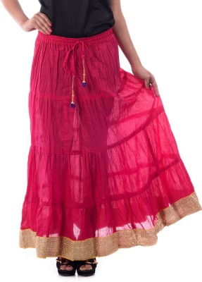 Patterns Lets Create Solid Women's Tiered Pink Skirt
