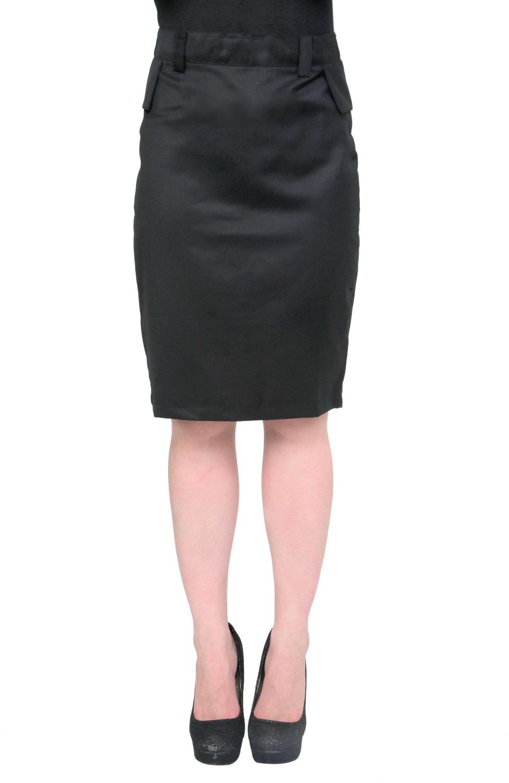 Cottinfab Solid Womens Straight Black Skirt