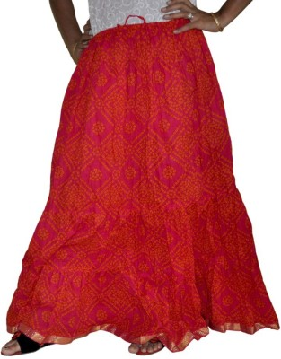Ooltha Chashma Printed Women's Broomstick Red Skirt