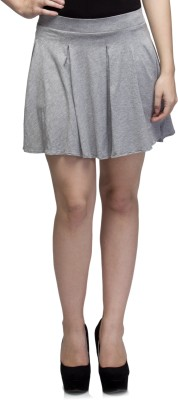 Dee Fashion House Solid Women's Pleated Grey Skirt