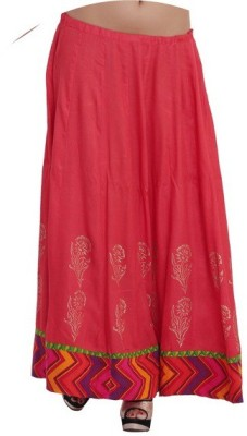 Inblue Fashions Floral Print Women's A-line Red Skirt