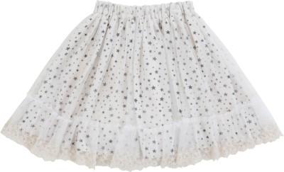 Teeny Tantrums Printed Girl's Gathered White Skirt