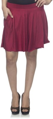 Dee Fashion House Solid Women's Pleated Maroon Skirt