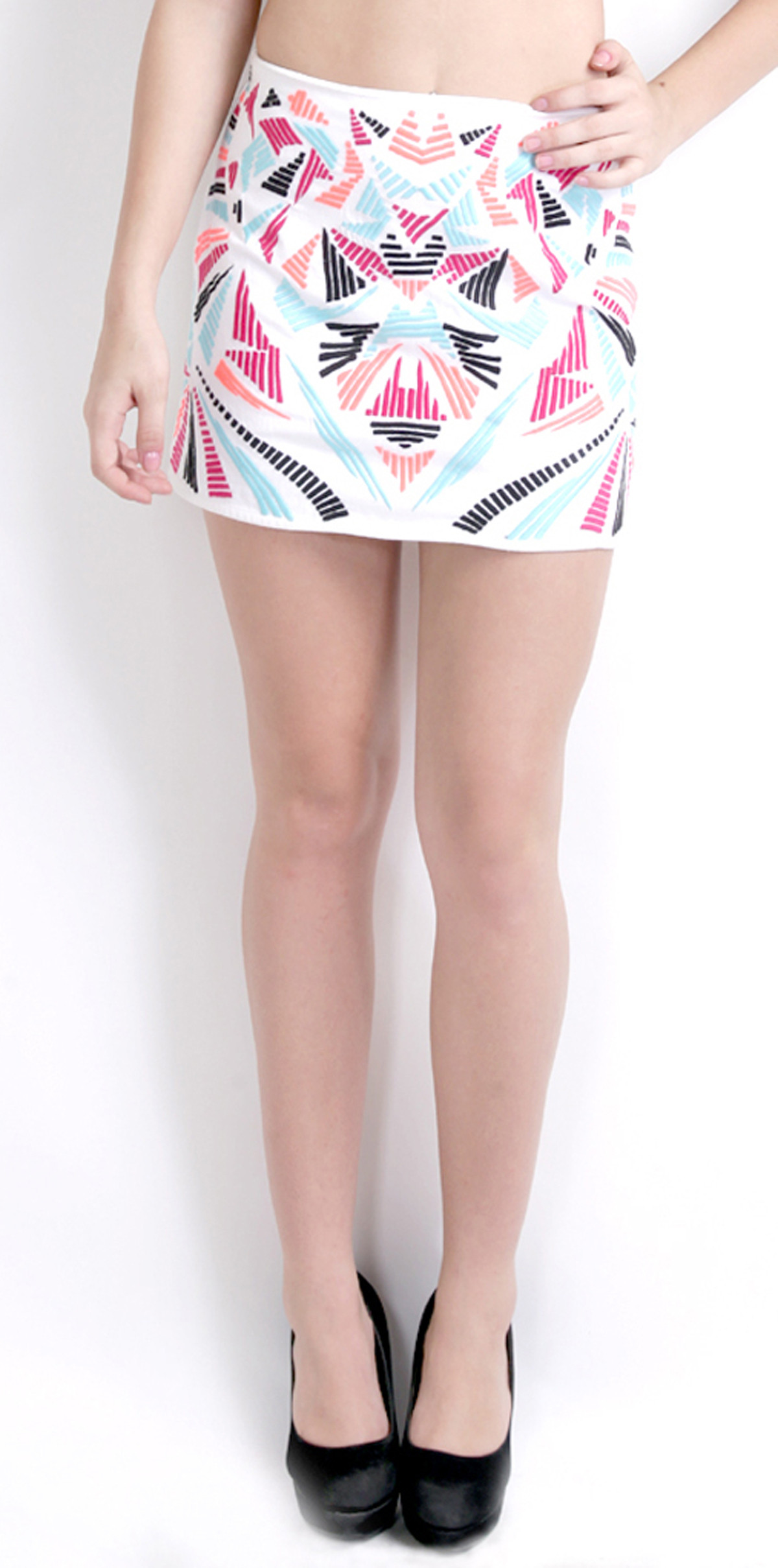 Ridress Printed Womens A-line White Skirt