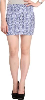 Cottinfab Printed Women's Regular Blue Skirt
