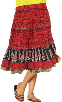 Jaipur Raga Printed Women's Regular Red Skirt