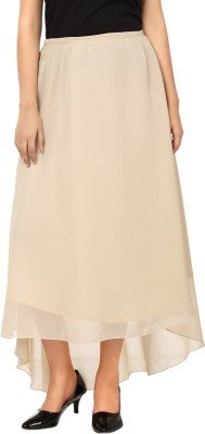 Tops and Tunics Solid Women's Asymetric Beige Skirt