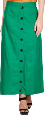 CURVYY Solid Women,s A-line Green Skirt
