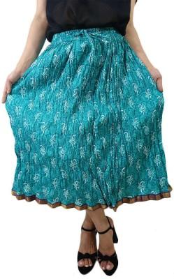 ShopMore Printed Women's Regular Light Green Skirt
