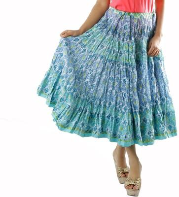 Chidiyadesigns Printed Women's Gathered Blue Skirt