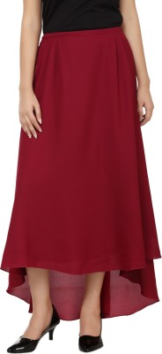 Tops and Tunics Solid Women's Asymetric Maroon Skirt at flipkart