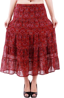 Goodwill Impex Printed Women's A-line Multicolor Skirt