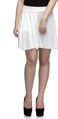 Dee Fashion House Solid Women's Pleated White Skirt