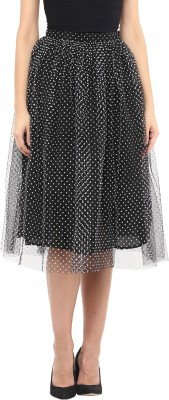 Roving Mode Solid Women's Gathered Black Skirt
