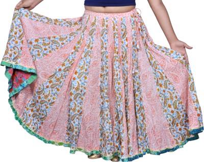 Chidiyadesigns Printed Women's Gathered Green, Orange Skirt