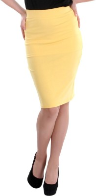 Street 9 Solid Women's Pencil Yellow Skirt