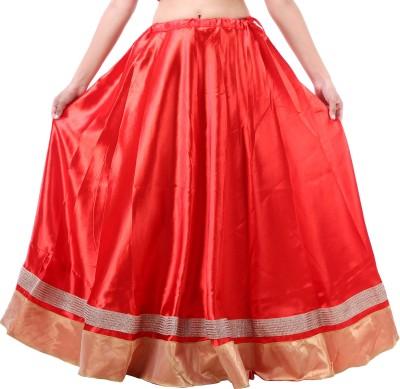BigCart Printed Women's Straight Red Skirt