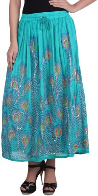 fashionmandi Embroidered Women's Regular Blue Skirt