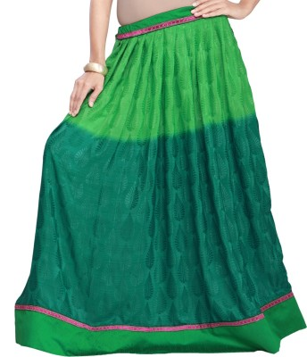 Admyrin Self Design Women's Wrap Around Green Skirt