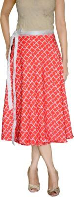 DeeVineeTi Checkered Women's Wrap Around Orange Skirt
